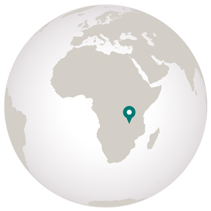 graphic showing southern tanzania on globe