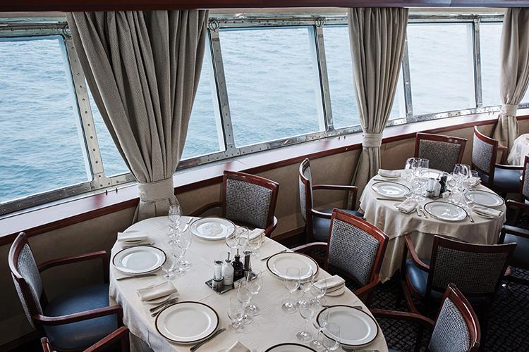 Restaurant with tables near windows
