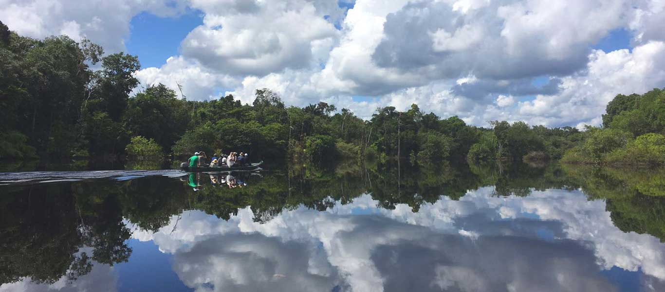 Brazil Amazon tours image of boat exploration and reflection