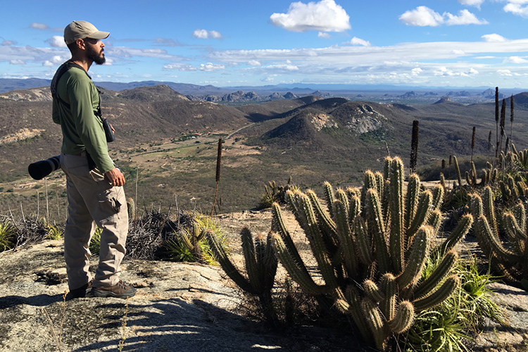 Diogo admiring Quixada Caatinga panorama seen on 9000 bird quest