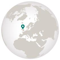 Cruises around British Isles graphic showing loacation on globe