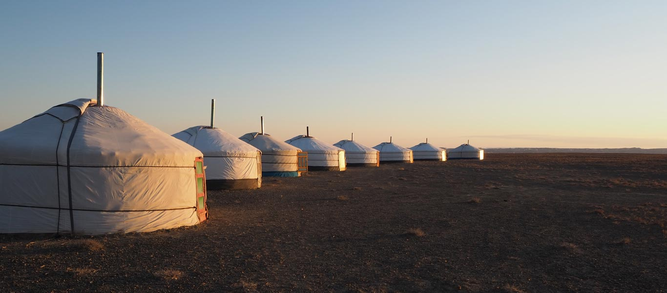 Mongolia tour photo showing private Ger camp