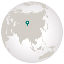 Golden eagle festival graphic showing Mongolia on globe
