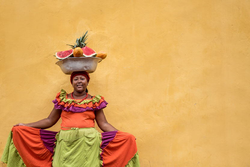 Colombia travel photo of a fruit seller