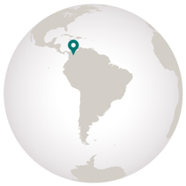 Colombia travel map showing location on globe