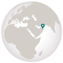 Oman travel globe graphic showing location on globe