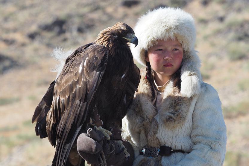 Golden Eagle Festival image of Eagle Huntress with eagle