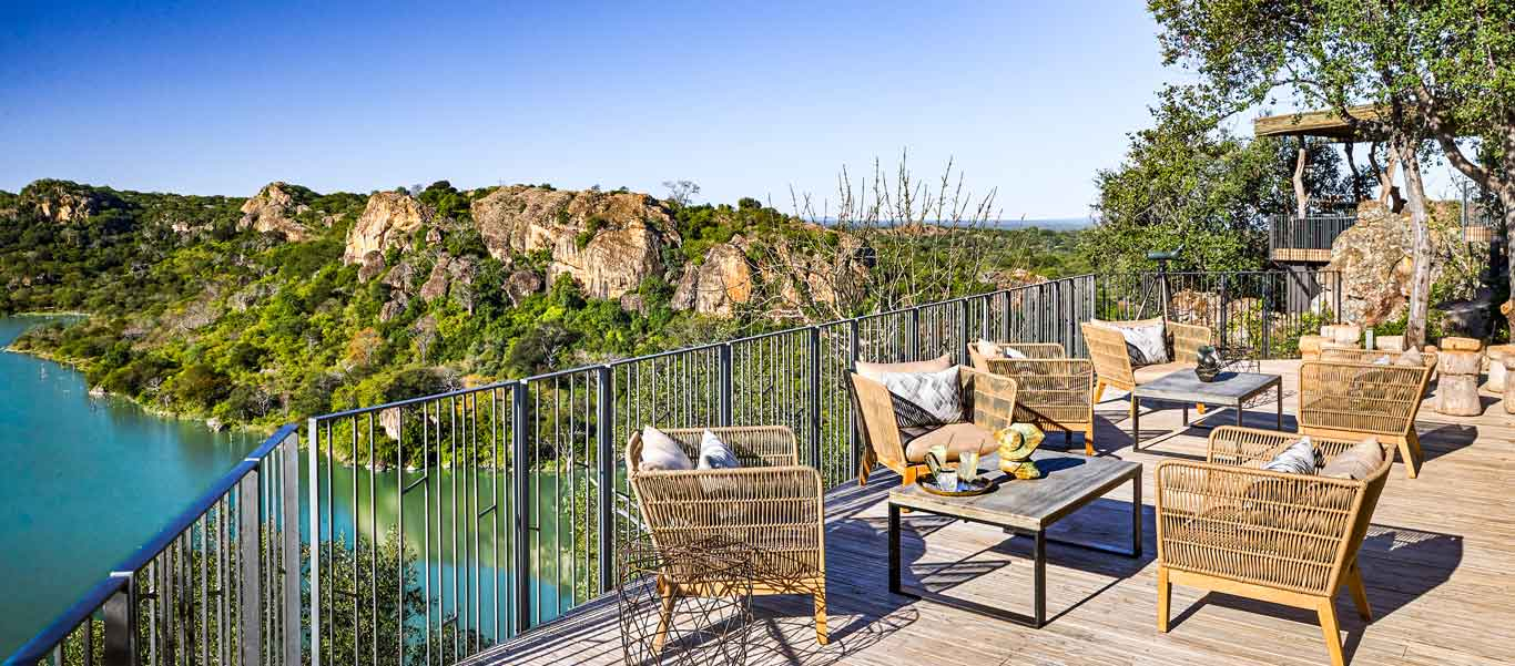 Zimbabwe tour image of Singita Pamushana Lodge deck and view