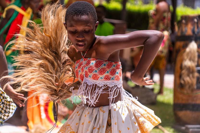 West Africa cruise image of dancer at Takoradi in Ghana