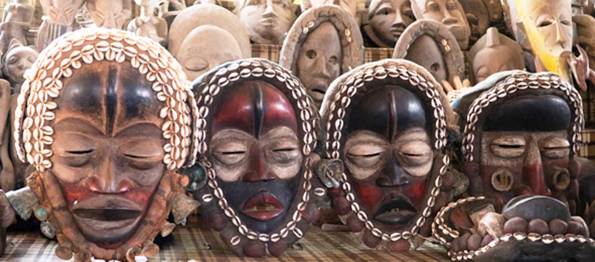 West Africa cruise image of masks at museum in Abidjan, Ivory Coast