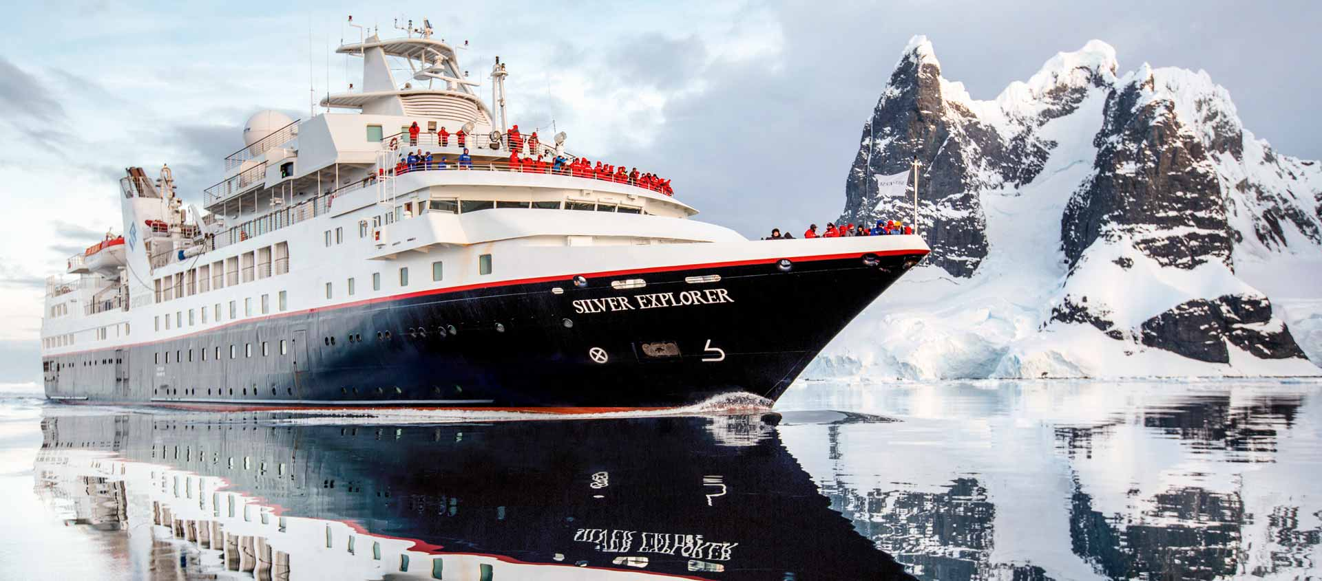 Deep South Antarctica slide showing expedition vessel Silver Explorer